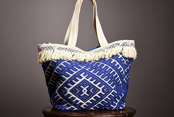 Blue fringed bag from La Redoute