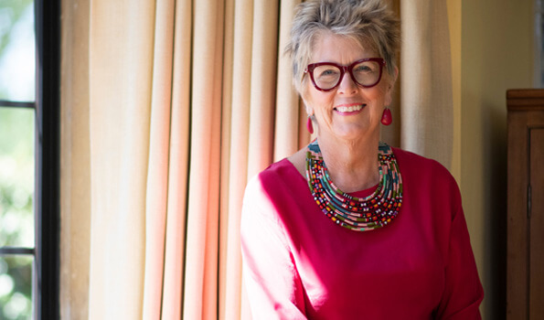 Prue Leith wearing her favorite necklace