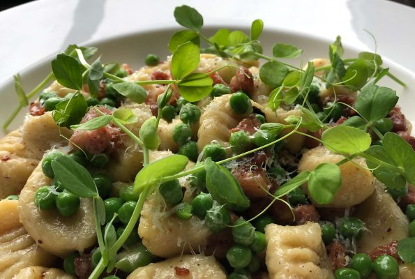Gnocchi with peas, bacon and parmesan
